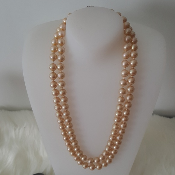 263ccd23eeb7c vintage double strand faux pearls 1950s peach